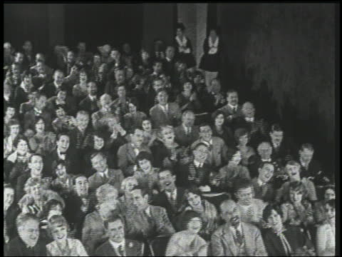 b/w 1926 high angle audience in theater clapping - black and white stock videos & royalty-free footage
