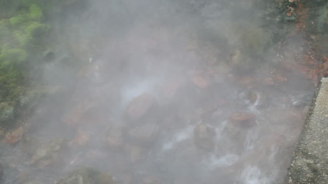 high angle, boiling hot spring in iceland - hot spring stock videos & royalty-free footage