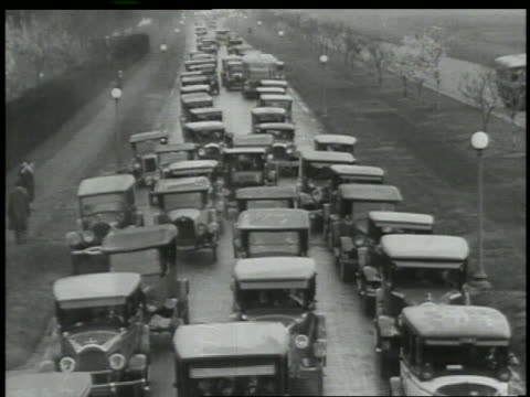 B/W 1927 high angle cars in traffic jam on highway