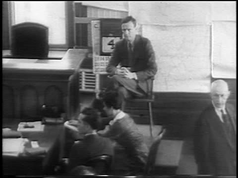 b/w 1935 high angle charles lindbergh sitting on stand at kidnapping trial / flemington nj / newsreel - 1935 stock videos & royalty-free footage