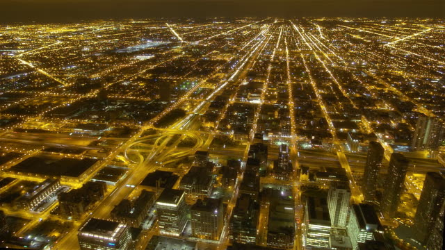 High angle Chicago at night