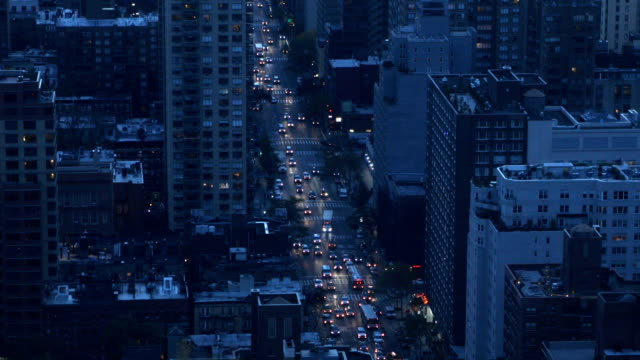 High Angle City View of Traffic in Manhattan