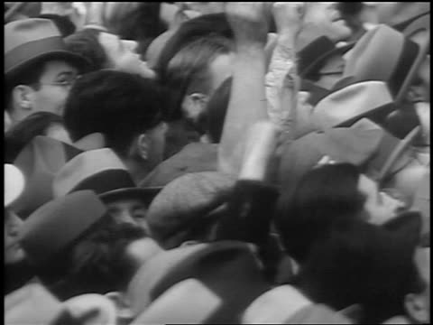 B/W 1933 high angle close up crowd raising fists at Communist demonstraton / Union Square NYC