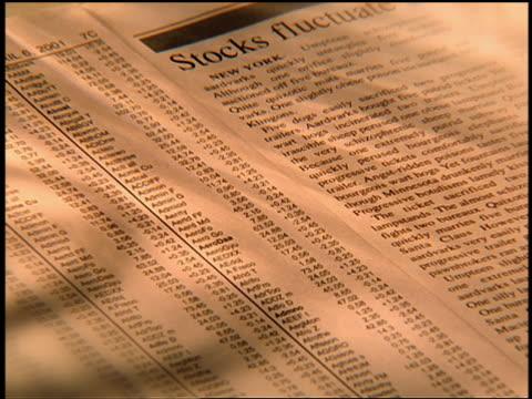 vídeos de stock, filmes e b-roll de high angle close up dice rolling onto page with stock quotes + newspaper article - enfoque de objeto sobre a mesa