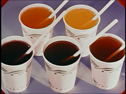 animation high angle close up five cups of soft drinks with straws / audio - snack stock videos and b-roll footage