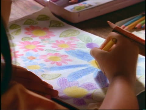 high angle close up hands of balinese child drawing picture at desk / bali - pacific islander child stock videos & royalty-free footage