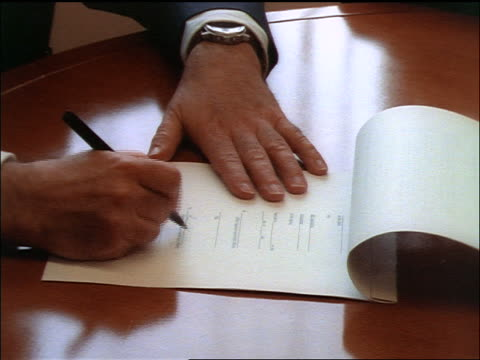high angle close up hands of men signing contract at desk - document stock videos & royalty-free footage