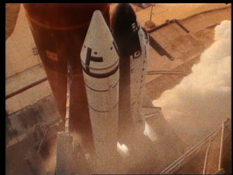 high angle close up of Space Shuttle blasting off