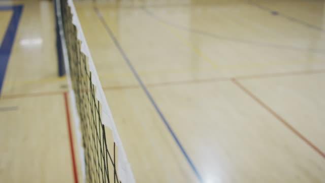 バレーボール ネットの高角のクローズ アップ - 体育館点の映像素材/bロール