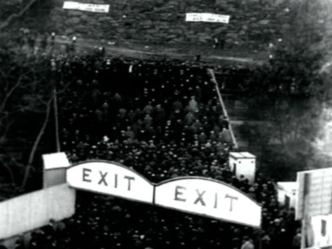 b/w 1921 high angle crowd exiting stadium after yankees win pennant / documentary - 1921 stock videos & royalty-free footage