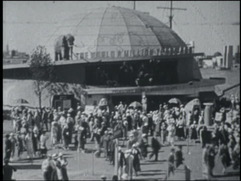 B/W 1933 high angle crowd in front of globe building at Chicago World's Fair