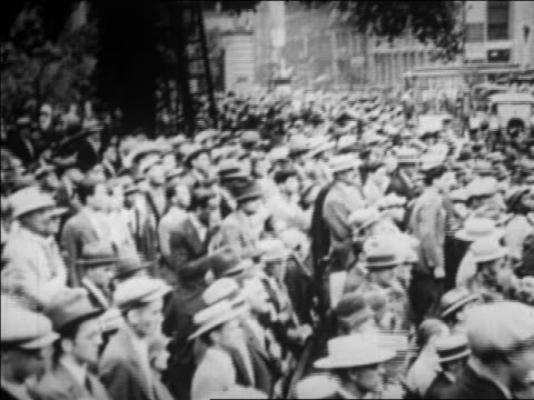 b/w 1928 high angle crowd of people watching amelia earhart / nyc / newsreel - 1928 stock videos & royalty-free footage