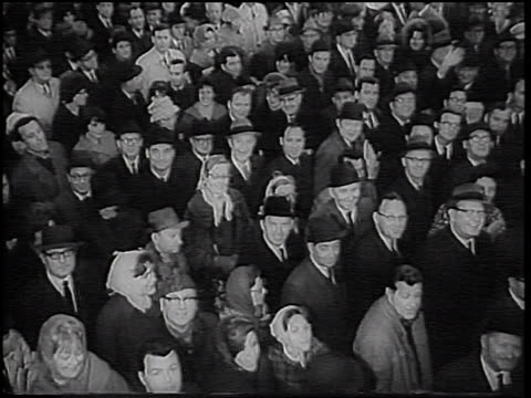high angle crowd waiting + looking up at camera in penn station during transit strike / nyc - 1966 stock videos & royalty-free footage