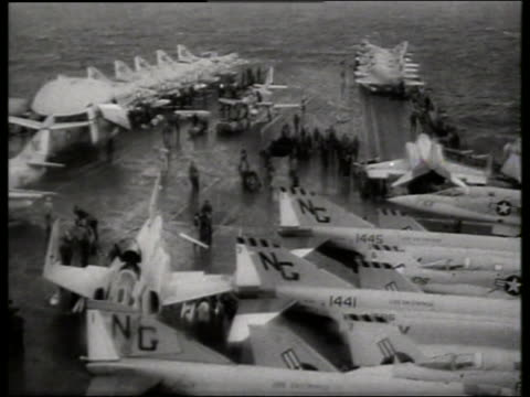 B/W high angle F4 'Phantom' people on aircraft carrier / Vietnam / Enterprise 1st nuclear powered ship
