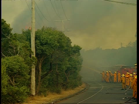 WA high angle, Fire fighters battle fire from road, zoom in
