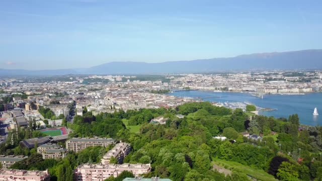 high angle footage above the city and the lake of geneva, switzerland - filming stock videos & royalty-free footage