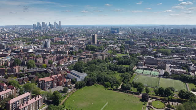 high angle footage over haggerston park in east london, 15 acres in size.  landscaped in 1956 from the derelict housing - 1956 stock videos & royalty-free footage