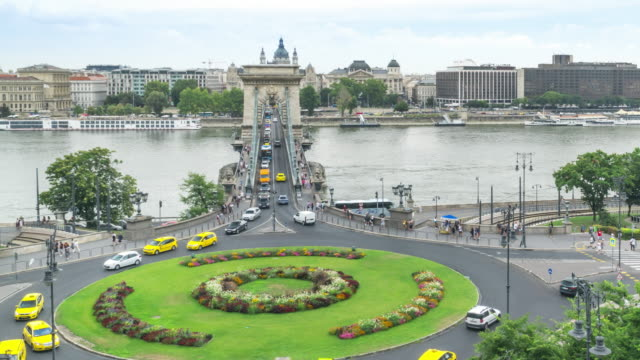 high angle front view tl: traffic jam on szechenyi chain bridge and st stephen's basilica in budapest, hungary in weekend - traditionally hungarian stock videos & royalty-free footage