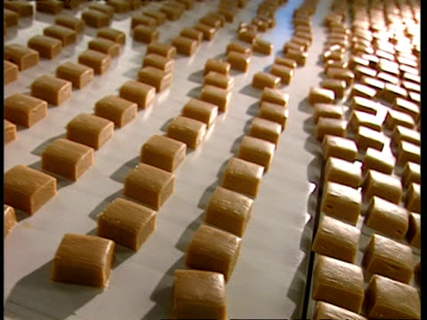 mcu high angle, fudge squares moving along conveyor belt - toffee stock-videos und b-roll-filmmaterial