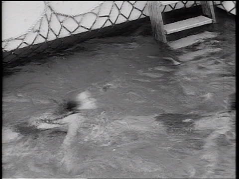 """b/w 1934 high angle girls swimming together in """"swim train"""" in pool on ship deck / cruise ship - 1934 stock videos & royalty-free footage"""