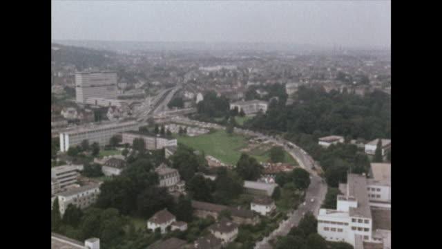 high angle gv of bonn city in germany; 1972 - north rhine westphalia stock videos & royalty-free footage