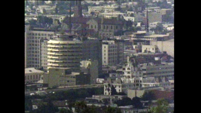 high angle gvs of los angeles; 1972 - arclight cinemas hollywood video stock e b–roll