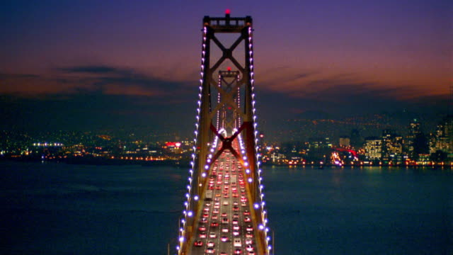 high angle heavy traffic on bay bridge / san francisco, ca - san francisco oakland bay bridge stock videos and b-roll footage