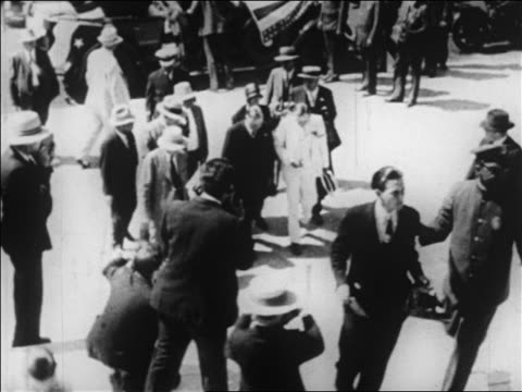b/w 1928 high angle herbert hoover ascending steps on campaign trail / newsreel - 1928 stock videos & royalty-free footage
