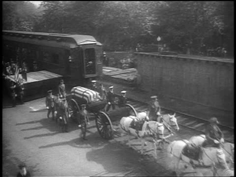 stockvideo's en b-roll-footage met high angle horse-drawn cart with fdr's coffin flanked by officers exits union station / washington - werkdier
