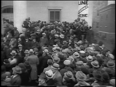 high angle huge crowd at federal courthouse during lindbergh kidnapping / flemington, nj / newsreel - 1935 stock videos & royalty-free footage
