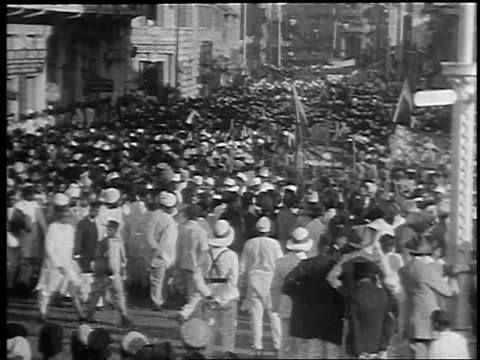 high angle huge crowd gathered at anti-british rule demonstration / bombay, india / newsreel - 1930 stock videos & royalty-free footage