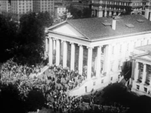 high angle huge crowd outside state capitol building in richmond, va / newsreel - 1928 stock videos & royalty-free footage