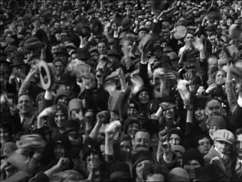 high angle huge crowd waving hats at rally for al smith / chicago / documentary - 1928 stock videos & royalty-free footage