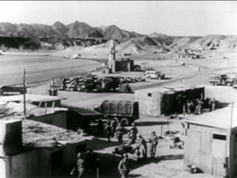 B/W 1956 high angle Israeli military base camp near Suez Canal / Suez Crisis / Middle East