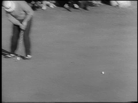high angle jack nicklaus putting + missing hole at masters tournament / newsreel - 1966 stock videos & royalty-free footage