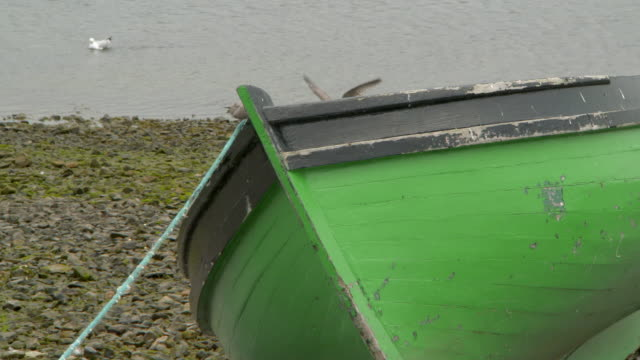 high angle lockdown shot of green boat moored on rocky shore with seagulls - galway, ireland - moored stock videos & royalty-free footage