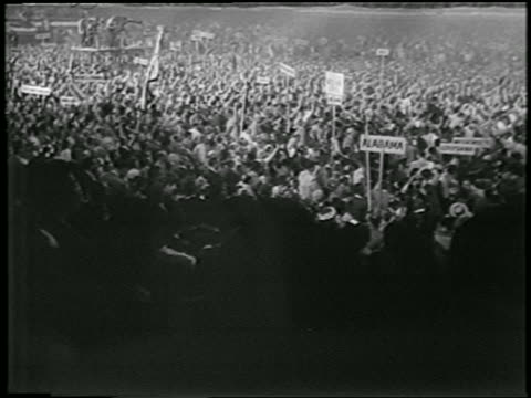 b/w 1952 high angle long shot crowd at democratic national convention / chicago / newsreel - 1952 stock videos & royalty-free footage