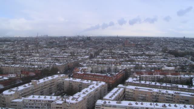 High angle long shot over the city of Amsterdam.