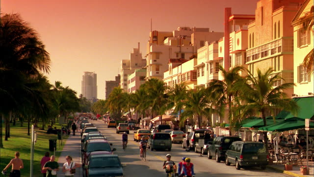 high angle long shot street lined w/palm trees w/orange sky in background / miami beach, fl - マイアミ点の映像素材/bロール