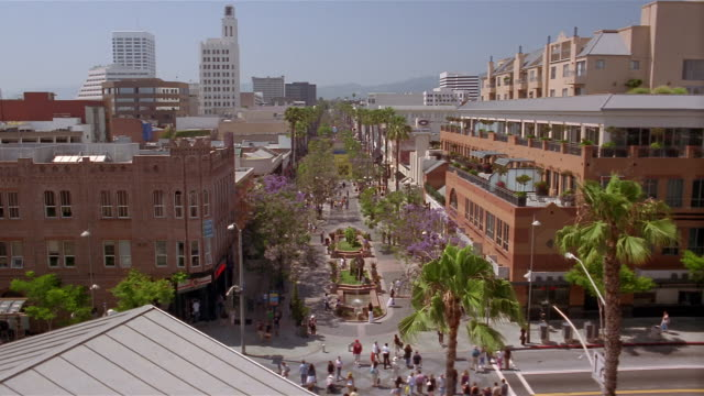 high angle long shot third street promenade pedestrian mall / santa monica, california - promenade stock videos & royalty-free footage