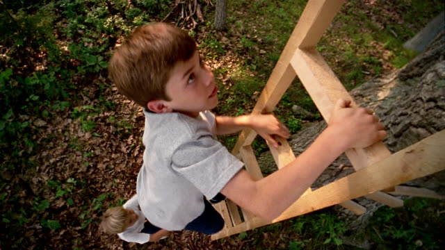 stockvideo's en b-roll-footage met high angle long shot two boys climbing ladder - ladder gefabriceerd object