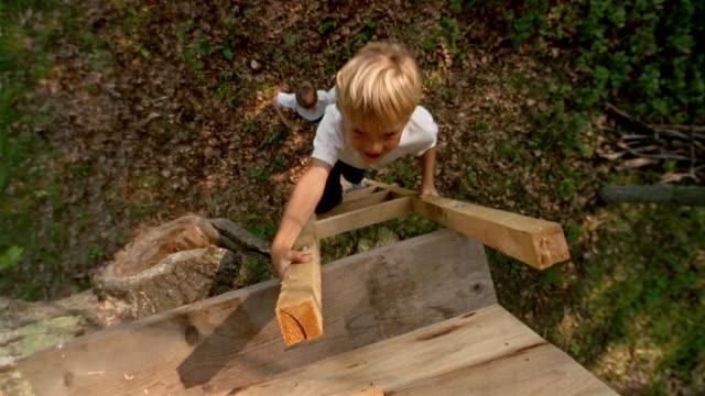vídeos de stock, filmes e b-roll de high angle long shot two boys climbing up ladder - treehouse