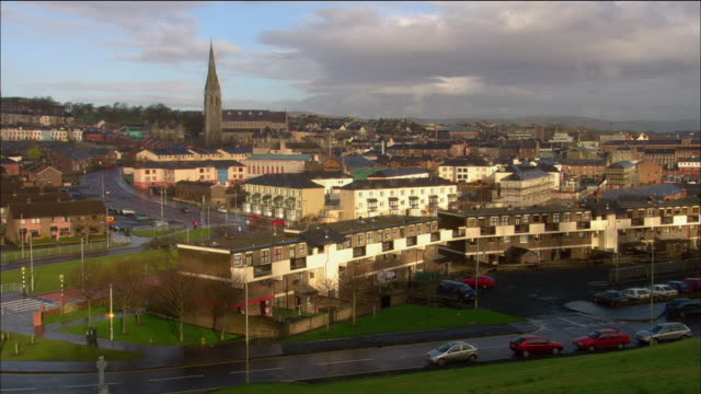high angle long shot view of bogside from city walls / derry, northern ireland - derry northern ireland stock videos & royalty-free footage