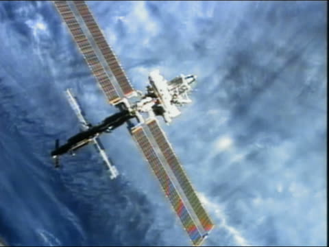 High angle long shot view of the International Space Station above the Earth
