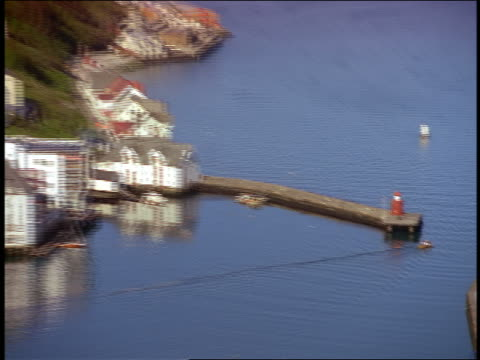 high angle long shot zoom out PAN from small fishing boat on canal by lighthouse to wide shot of peninsula city / Alesund