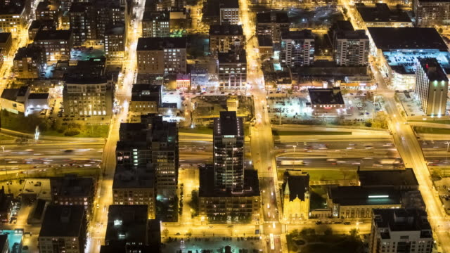 high angle look down view of the kennedy expressway and streets in the chicago loop at night - chicago loop stock videos and b-roll footage