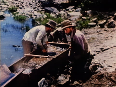 1965 high angle medium shot gold prospectors shoveling and breaking up dirt in wooden boxes / 'the gold rush' / audio - panning stock videos & royalty-free footage