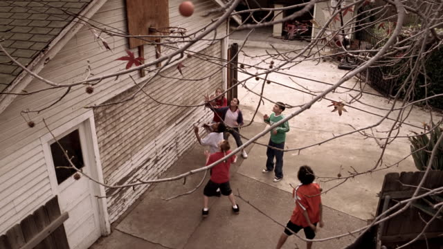 vidéos et rushes de high angle medium shot kids playing basketball in driveway with hoop on garage / tree branches in foreground - garage