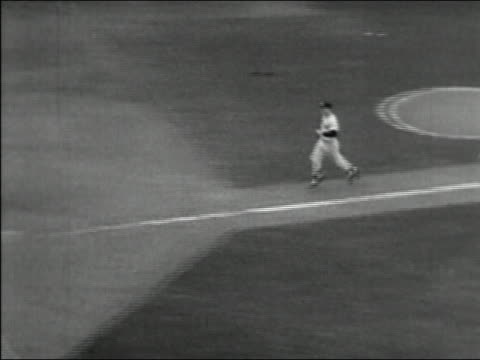 high angle medium shot mickey mantle running home after his grand slam home run in 1953 world series / audio - 20 29 years stock videos & royalty-free footage