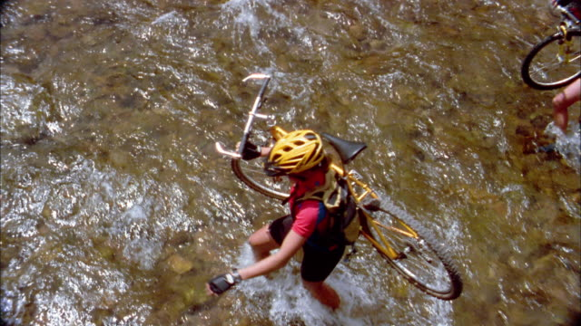 High angle medium shot three people wading across river and carrying mountain bikes